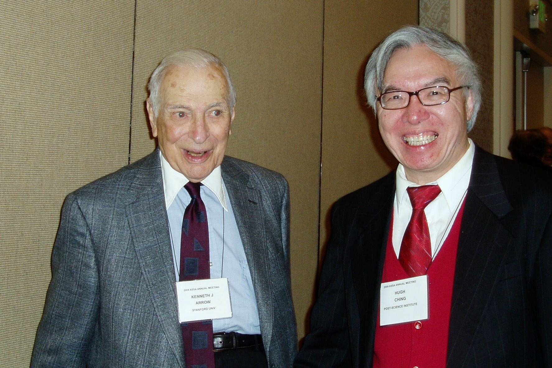 Kenneth Arrow and Hugh Ching. Click to learn more about friends of Post-Science Institute.